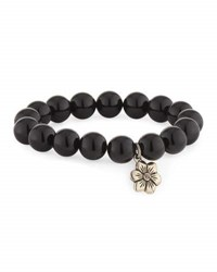 Stephen Dweck Beaded Agate Stretch Bracelet W Flower Charm Black