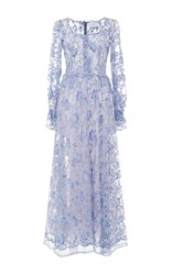 Luisa Beccaria Long Sleeve Lace Dress Blue