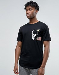 Only And Sons Longline T Shirt With Badge Detailing Curved Hem Black