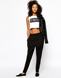 Monki Textured Drawstring Trouser Black