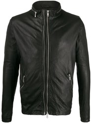 Giorgio Brato Wrinkled Effect Zip Up Biker Jacket 60