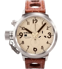 U Boat 6118 Stainless Steel And Leather Chronograph Watch Cream