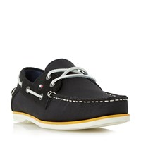 Tommy Hilfiger Deck 4D Mixed White Sole Boat Shoes Black