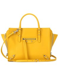 Balenciaga Mini Papier A4 Zip Around Leather Shoulder Bag Yellow