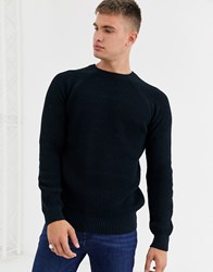 New Look Raglan Tuck Stitch Crew Neck Jumper In Navy