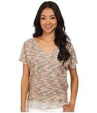 Kut From The Kloth Maddy V Neck Short Dolman Top Hi Low Oyster Women's Short Sleeve Pullover Beige