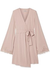 I.D. Sarrieri Isolde Chantilly Lace Trimmed Stretch Modal Blend Jersey Robe Pastel Pink