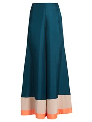 Roksanda Ilincic Oldridge Wide Leg Satin Twill Trousers Green Multi