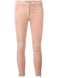 Arma Zipped Legs Cropped Trousers Pink Purple