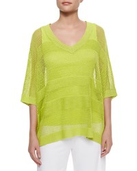 Mesh Striped Sweater Women's Wild Lime Joan Vass
