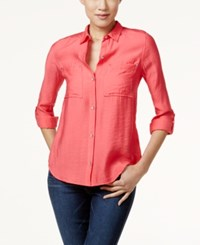 Calvin Klein Jeans Solid Button Front Utility Blouse