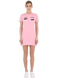 Chiara Ferragni Embroidered Cotton Jersey Mini Dress Pink