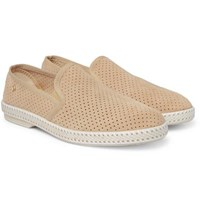 Rivieras Perforated Suede Espadrilles Taupe
