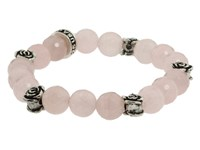 King Baby Studio 10Mm Rose Quartz Four Roses Bracelet Silver Bracelet