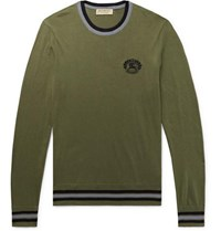 Burberry Slim Fit Logo Embroidered Cotton And Silk Blend Sweater Army Green