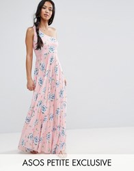 Asos Petite One Shoulder Pleated Maxi Dress In Floral Print Multi
