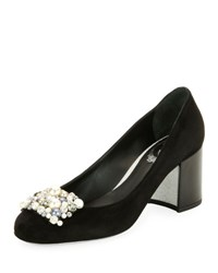 Rene Caovilla Pearly Beaded Suede Block Heel Pump Black Pattern