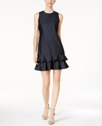 Calvin Klein Denim Ruffle Hem Shift Dress Blue