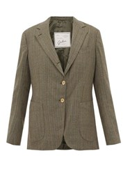 Giuliva Heritage Collection The Andrea Pinstriped Single Breasted Wool Blazer Grey Multi