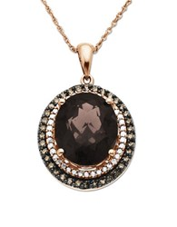 Lord And Taylor Diamonds Smokey Quartz 14K Rose Gold Pendant Necklace