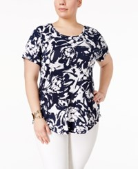 Jm Collection Plus Size Printed Short Sleeve Top Only At Macy's Blue Blown Bloom