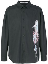Chalayan Embroidered Striped Shirt Cotton Black