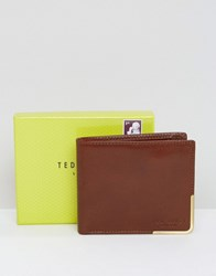 Ted Baker Wallet Bi Fold With Metal Corner Tan