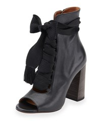 Chloe Open Toe Leather Lace Up 70Mm Ankle Boot Black