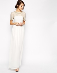 Asos Lattice Embellished Flutter Sleeve Maxi Dress White