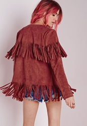 Missguided Fringe Faux Suede Jacket Rust Brown