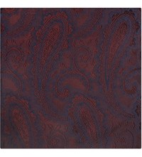 Duchamp Paisley Silk Pocket Square Burgundy