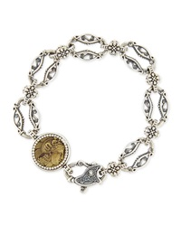 Silver And Bronze Coin Link Bracelet Konstantino