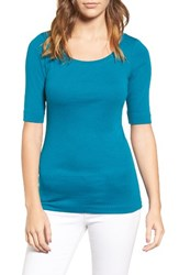 Caslonr Petite Women's Caslon Ballet Neck Cotton And Modal Knit Elbow Sleeve Tee Teal Ocean