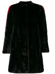 Philipp Plein Side Stripe Detail Fur Coat Black