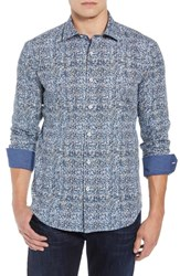Bugatchi Shaped Fit Print Sport Shirt Air Blue