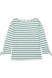 Madewell Marisol Striped Slub Cotton And Linen Blend Top Green