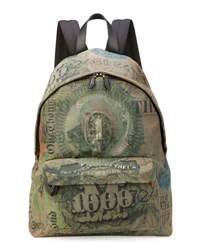 Givenchy Men's Dollar Print Canvas Backpack Olive Multi