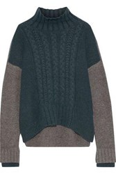 Iris And Ink Woman Almeta Brushed Cable Knit Turtleneck Sweater Dark Green