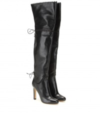 Francesco Russo Over The Knee Leather Boots Black