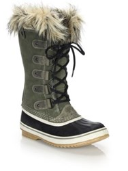 Sorel Joan Of Arctic Faux Fur Trimmed Suede And Leather Lace Up Boots Black Nori