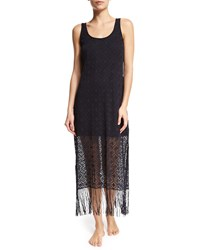 Gottex Charleston Crochet Coverup Tank Dress W Fringe Black