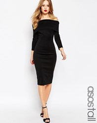 Asos Tall Premium Scuba Deep Fold Bardot Midi Pencil Dress Black