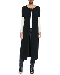 Alice Olivia Duster Length Long Sleeve Ribbed Cardigan Black Cream