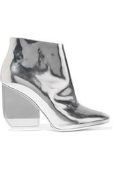 Maison Martin Margiela Metallic Glossed Leather Ankle Boots Silver