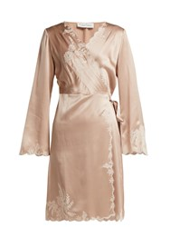 Carine Gilson Lace Trimmed Silk Satin Robe Light Pink