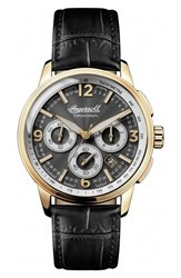 Ingersoll Watches Men's Regent Chronograph Leather Strap Watch 47Mm Black Gold