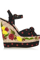 Dolce And Gabbana Polka Dot Canvas And Embroidered Cork Wedge Sandals Black