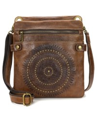 Patricia Nash Distressed Vintage Francesca Crossbody Cognac