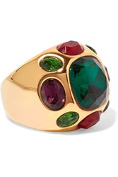 Kenneth Jay Lane Gold Plated Crystal Ring One Size