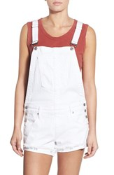 Women's True Religion Brand Jeans Denim Short Overalls Optic White